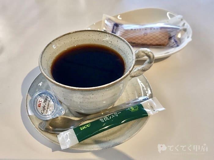 山梨県甲府市・甲府駅-防災新館「オープンカフェまるごとやまなし」コーヒー・レーズンサンド