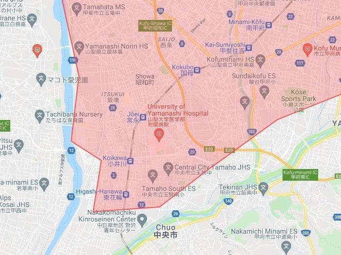 【山梨県中央市】Uber Eats(ウーバーイーツ)対象エリア